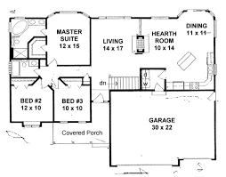 3 Bed 2 Bath Ranch Floor Plans by Ranch Style House Plan 3 Beds 2 00 Baths 1465 Sq Ft Plan 58 196