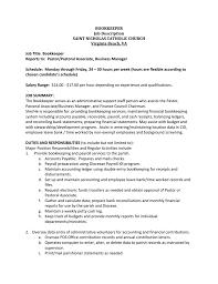 sample bookkeeper job description accounting associate job description deli clerk resume 13