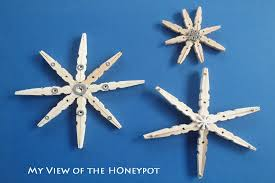 my view of the honeypot dollar store snowflake clothespin ornaments