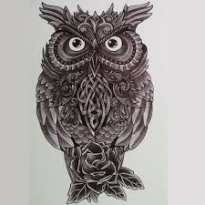 3d owl and roses sticker products waterproof