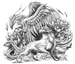 mystical phoenix and wolf upper arm half sleeve the art of
