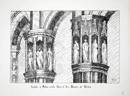 1876 lithograph wright art capital pillar nave milan cathedral