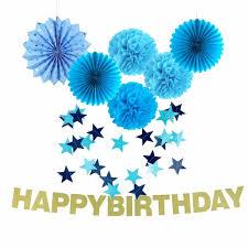 1st birthday set of 8 blue theme birthday party decoration set pompoms