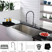 Kitchen Faucet With Soap Dispenser Kraus Khf200 36 Kpf1612 Ksd30 36 Farmhouse Single Bowl Stainless