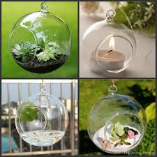 Home Decor Candles Box Tea Light Holder 80mm Glass Air Plant Terrariums Hanging Glass