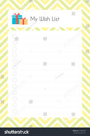 my wish list printable diary page my wish list stock vector 575884459