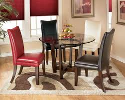 Red Leather Dining Chair Kitchen Stunning Image Of Dining Room Decoration Using Round Glass