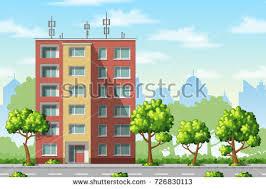 illustration modern family houses trees stock vector 550884784