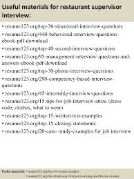 Resume Templates For Restaurant Managers Top 8 Restaurant Supervisor Resume Samples