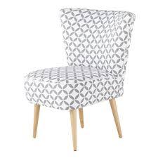 siege scandinave fauteuil vintage en coton à motifs gris et blancs maisons du monde