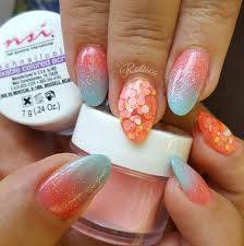 lovely orange and blue ombre acrylic nails perfect look for