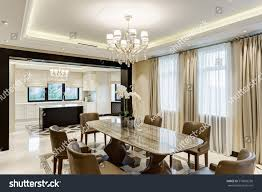 crystal chandeliers for dining room classic interior dining room brown white stock photo 579096238