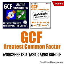 greatest common factor gcf task cards and worksheets bundle