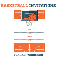 free printable basketball themed party invitations basketball