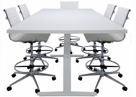 Large White Meeting Table Electric Lift 8 U0027 Conference Table Rectangular