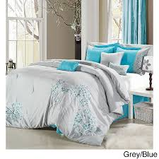 light grey comforter set the light grey comforter features delicate floral embroidery in aqua