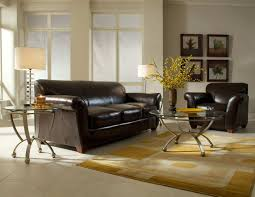 furniture black leather sofa with glass top coffee table by