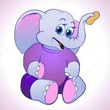 cute and cuddly cartoon elephant holding up a peanut u2014 stock