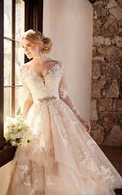 wedding dress lace sleeved wedding dresses wedding dress with illusion lace
