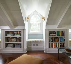 Built In Bookshelves With Window Seat Book Shelves In Knee Walls For Attic Space Playroom For Now