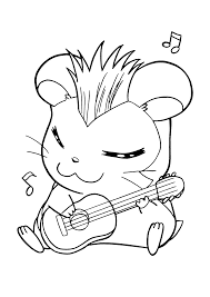 playing music hamtaro coloring pages 30614 bestofcoloring com
