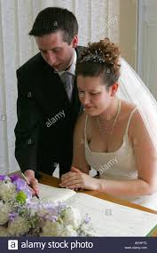 wedding registry uk a newly married husband and sign the wedding register in a