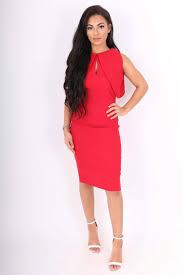 Vesper Lulu Red Keyhole Cold Shoulder Pencil Dress Clothing From