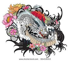 hand drawn dragon tattoo coloring book stock vector 668731930