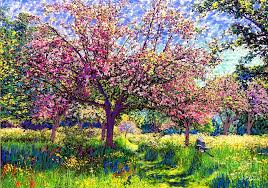 in love with spring blossom trees painting by jane small