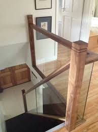 Banister Clips Vision Glass Balustrade Panels With Oak Handrail And Glass Clamp