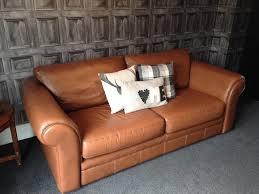 Aged Leather Sofa Tan Leather Sofa This Puffy Sofa Is Composed Of Full Italian