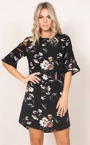 shift dress eastern sun shift dress in black floral showpo