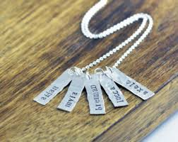 Stamped Name Necklace Name Tag Necklace Etsy