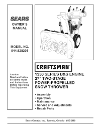 craftsman snow blower 944 528398 user guide manualsonline com