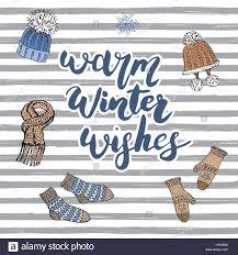 winter season lettering warm winter wishes hand drawn set sketch