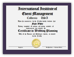 certified wedding planner international institute of event management