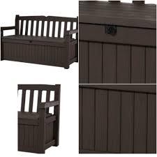 outdoor storage bench patio furniture deck box garden seat pool