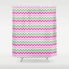Green Chevron Shower Curtain Green Pink Ombre Chevron Shower Curtain By Decstudios Society6