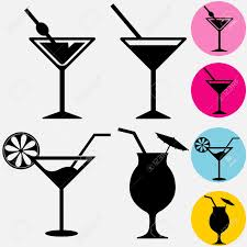 martini glass vector cocktail icons a glass for drinks silhouette with drinking straw
