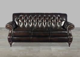 brown top grain button tufted leather sofa
