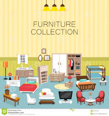 design element and furniture collection for home interior stock