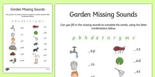 garden missing initial sounds activity sheet phonics letters