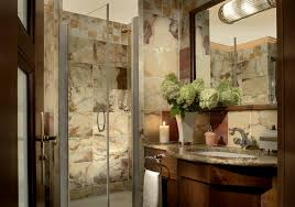 ideas for bathroom decorating theme with natural mosaic border