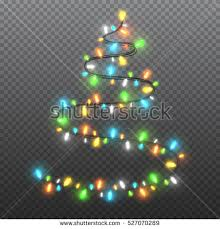 shape tree garlands festive decorations stock vector
