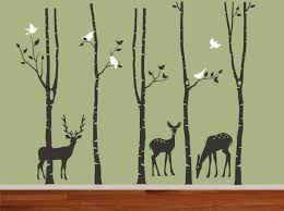 jungle tree wall decal three deers forest tree with birds leaf