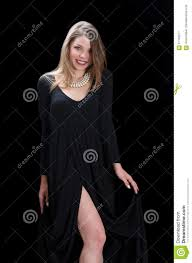 wear long necklace images Young woman wear long black dress and necklace stock image image jpg