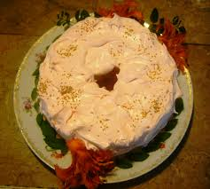 Angel Decorated Cake Peaches And Cream Angel Food Tunnel Cake Is Gluten Free Yeah Baby