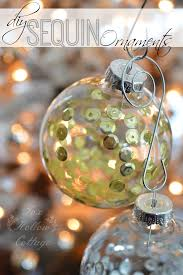 diy ornament craft sequins in clear glass fox hollow