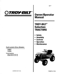 troy bilt lawn mower 13027 user guide manualsonline com