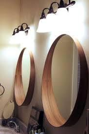 bathroom double round bathroom mirror with unique wood frame